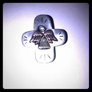 """Mini 1"""" Vintage Metal Angel Cross Pin Brooch J1015"""